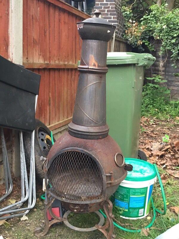 Cuba Cast cast iron chimenea with grill, garden chimney outdoor ...