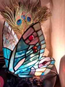 Beautiful Stained Glass Butterfly Lamp