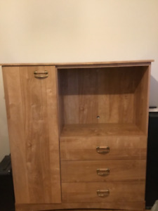 Single captains bed and dresser tv stand combo