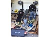 Complete Home Gym with Benches, Dumbbells, Barbells and 234kg of weights