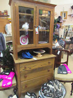 ELM AND OAK CHINA CUPBOARD WITH DRESSER BOTTOM