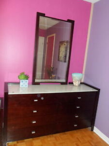 Modern wood Dresser drawer with mirror ,glass top .....