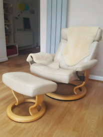 Ekornes Stressless leather recliner armchair and footstool