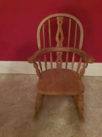 Solid pine wooden childs rocking chair