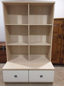 Beautiful two toned book shelf with bottom drawers