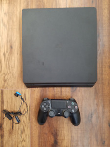 PS4 Slim 500GB console with controller and  hookups