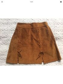 Bali International Leather Girls skirt brown suede leather size 12 years