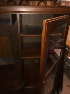 "Cherry Ent Cabinet, holds 42"" tv, has sliding doors, excellent"