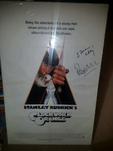 Autographed clockwork orange original horror poster