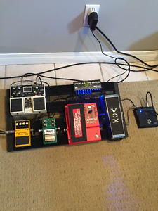 Various pedals and pedal board