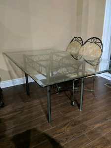 Glass table, chairs, and bakers rack!
