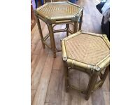 Wicker stacking tables