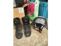Meindl woodwalker chainsaw boots (size 9) & Stein climbing helmet