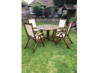 Wooden Garden Furniture, 4 Seats & Table
