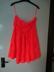 BNWT Love Label Size 12 Fluorescent Orange Strapless Mini Dress