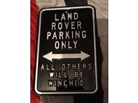 Land Rover parking only metal sign