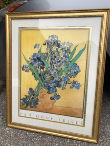 Van Gogh Irises Print with Gold Frame 30 1/2 x 24 1/2