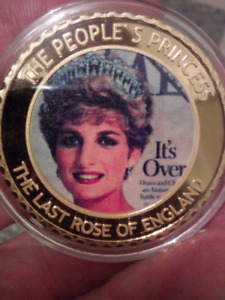 Large 40mm Diana Princess of Wales 1961-1997 Gold Plated Coin.
