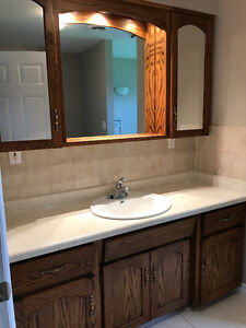 "66"" vanity with upper cabinet, sink, faucet and lights."