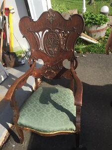 Antique Oak Chair with Original Castors