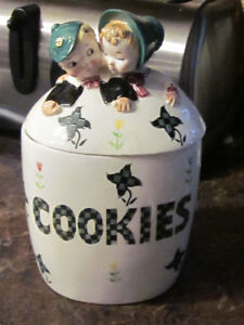 Vintage Glass Cookie Jar Shafford Japan