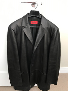 Men's Boss Black Leather Sports Jacket