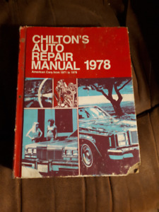 Chilton's Auto Repairs Manual 1971 to 1978