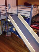 Children's loft and slide bed set with 1 twin size mattress