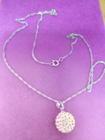 LADIES NEW, SILVER AND CRYSTAL BALL PENDANT