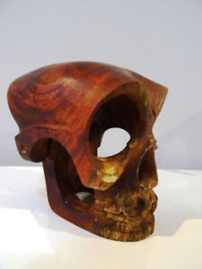 WOOD SKULL hand carved MOVEABLE JAW vintage baby included Scully