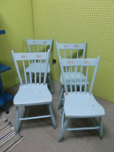 Set of 4 Antique Painted Turquoise Blue Shabby Chic Wood Chairs