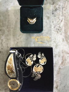 Wedding ring, engagement ring, Watch, earings and necklace