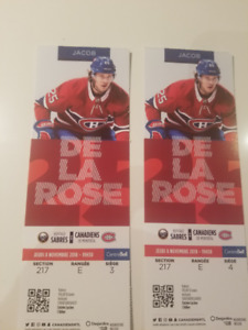 BUFFALO VS CANADIENS  8 NOV  2 BILLETS  ZONE DESJARDINS