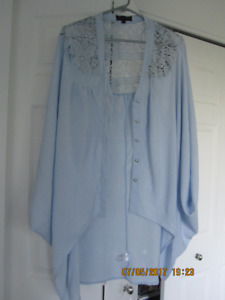 Blouse Cover-Ups (2) Ligght Pink and Blue - One Size Fits All