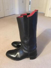 Black Leather Officers Wellington Dress Boots