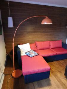 Lampe sur pied, lampe arc, lampadaire salon, lampe salon, orange