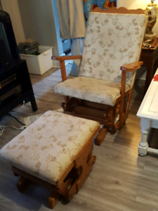 Wooden rocking chair with rocking stool