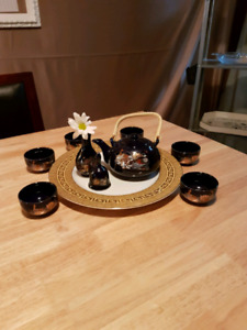Decorative tea set and platter