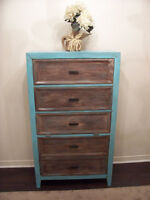 A SHOWPIECE! Shabby Chic Turquoise Tallboy Cabinet I DELIVER