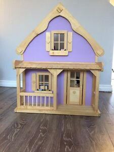 Wood doll house with furniture accessories