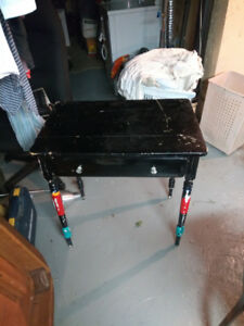 Small, black, wooden desk/bedside table