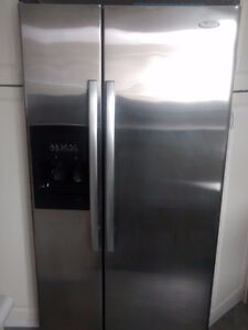 Whirlpool Stainless Steel Refrigerator and Stove pair