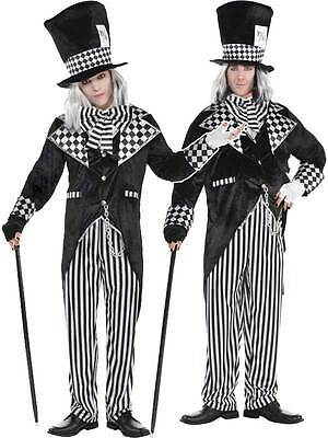 Adults Totally Mad Hatter New Fancy Dress Costume Mens Evil Alice Halloween - Evil Mad Hatter
