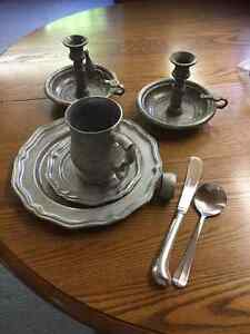 Pewter style four place dinner setting