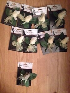 Wedding boutonnieres (8 Ivory & 1 Light Grey)