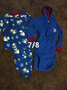 Fleece pjs and housecoat set sz 7/8