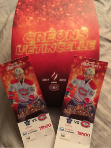 Billets Gris section 326 Toronto vs Montreal Canadiens 14 oct