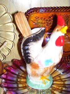 Vintage Pottery Rooster Kitchen Utility Holder