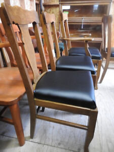 set of 4 antique oak dining chairs restored, new vinyl seats