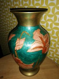 Vintage Brass Enamelled Vase